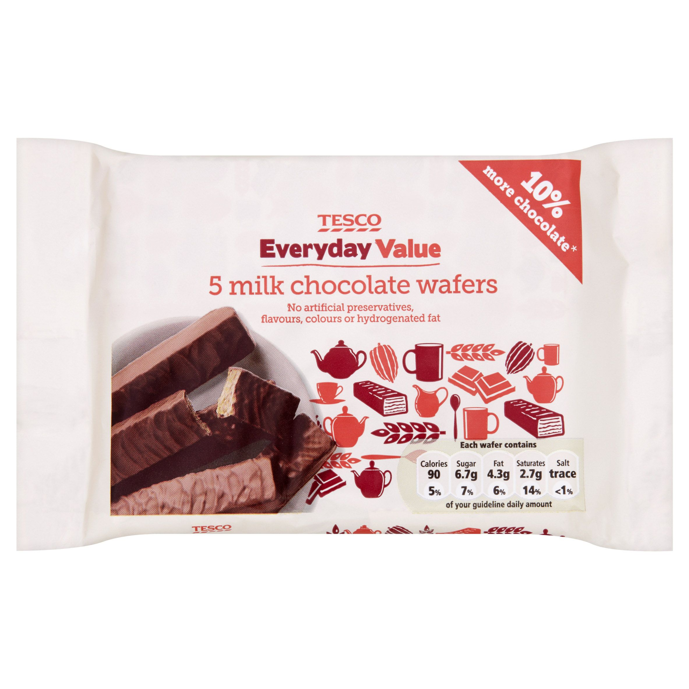 Tesco Everyday Value! 5 milk chocolate wafers. | Tesco Product ...