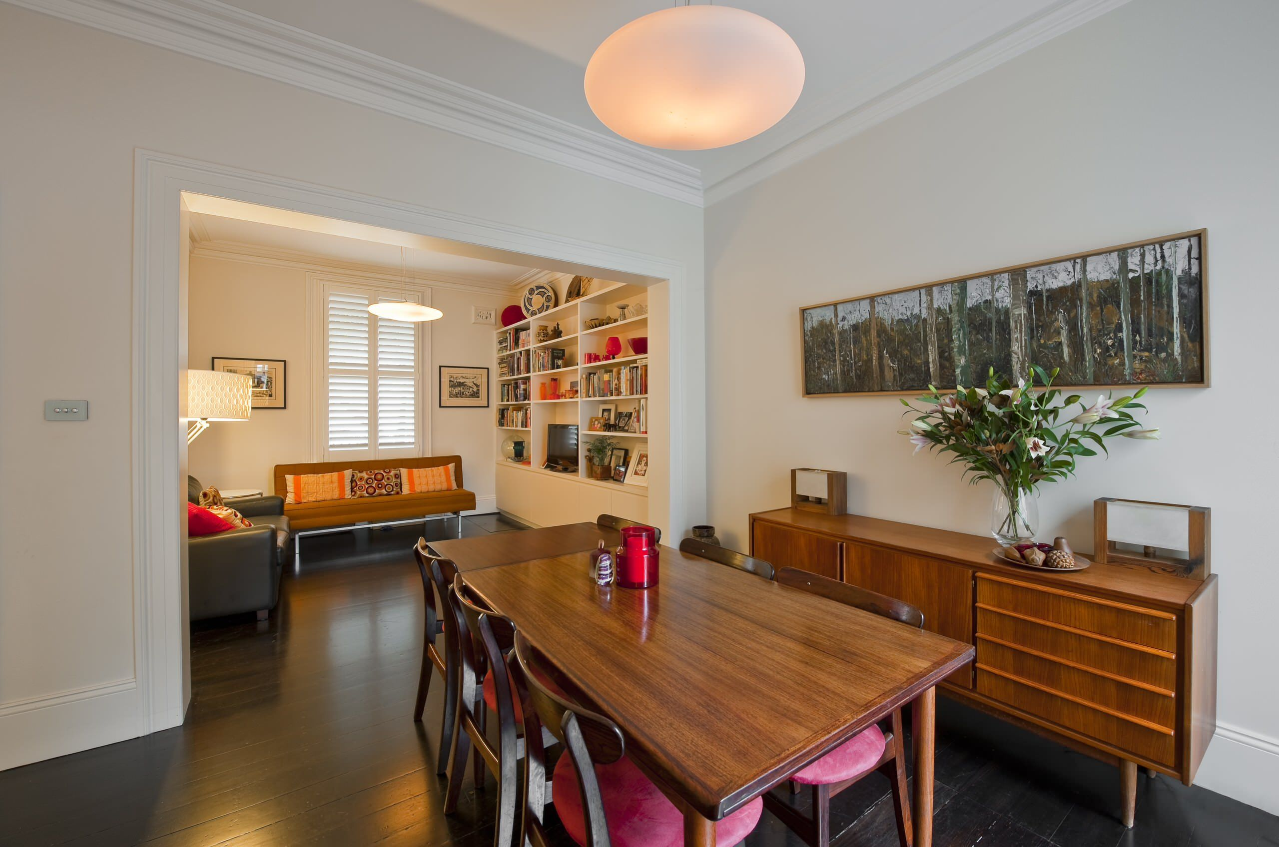 Dining Room: Black Leather Sofa With Decorative Cushions ...