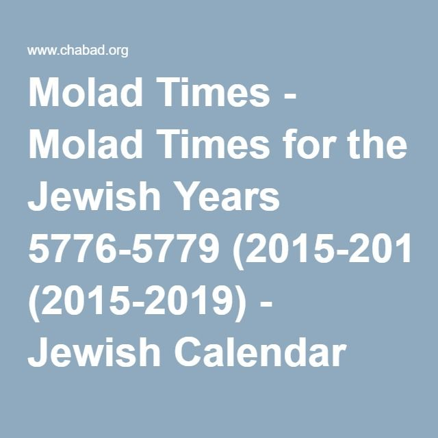 2019 2020 5780 Executive Jewish Calendar: Molad Times For The Jewish Years 5776-5779