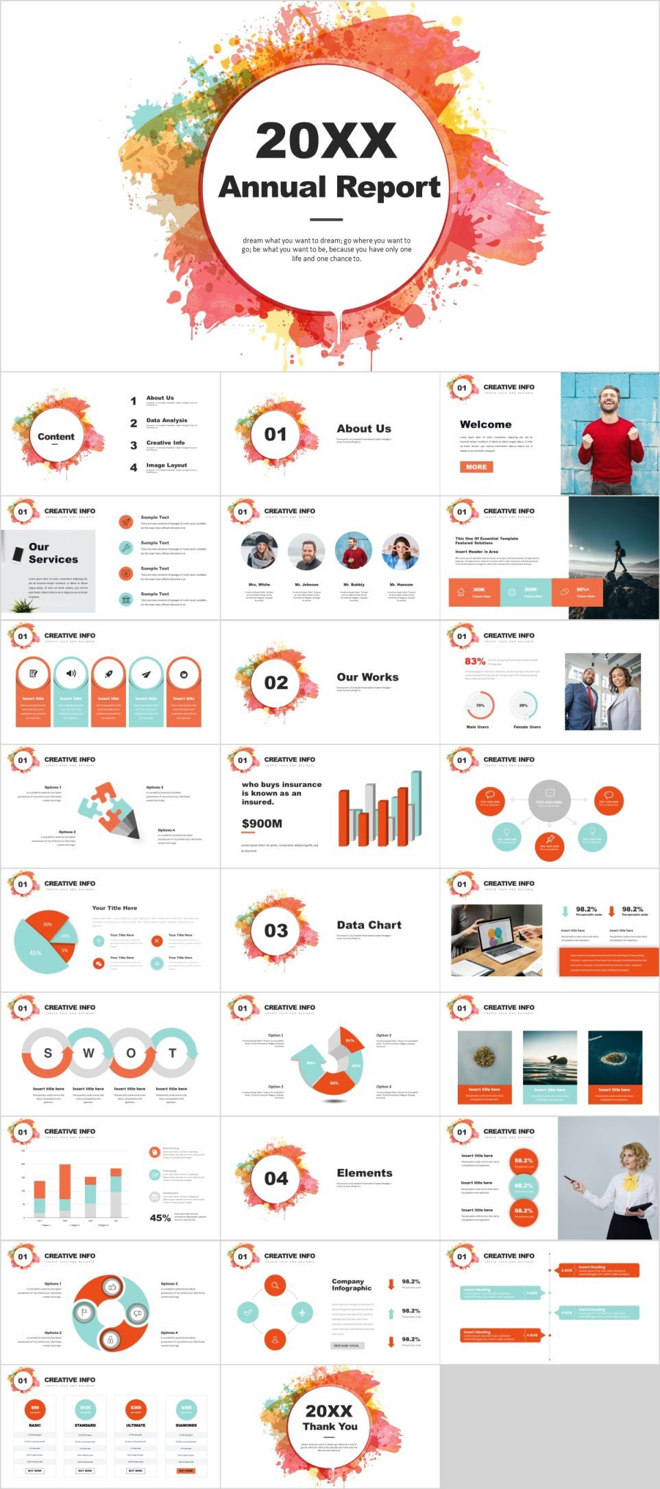 Colorful Annual Report Powerpoint Template The Highest Quality Powerpoint Templates And Keynote Powerpoint Templates Powerpoint Design Templates Annual Report