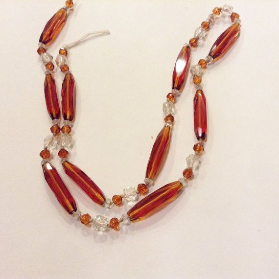 Vintage glass bead Necklace strand  faceted by Frenchsteelbeadshop