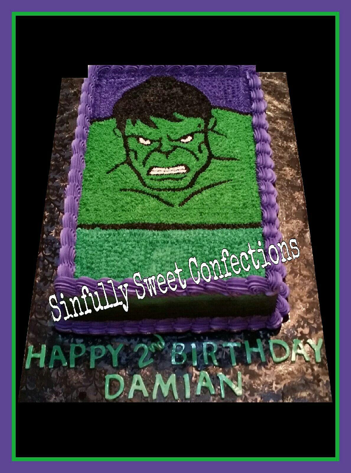 Hulk Birthday Cake Sinfully Sweet Confections Pinterest Hulk