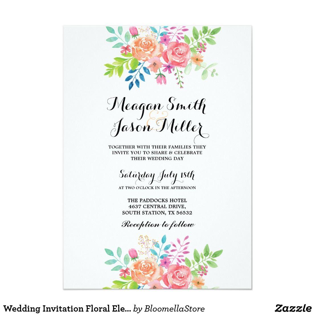 Wedding invitation floral elegant formal invite engagement wedding invitation floral elegant formal invite stopboris Gallery