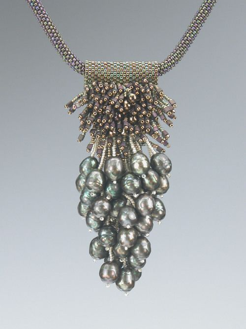 Green Grapes necklace by Kay Bonitz made from green freshwater pearls, Delicas and seed beads. #craftstosell