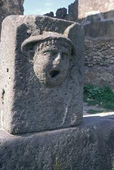 Pompeii / Via del Mercurio / Fountain / Mercury's head  