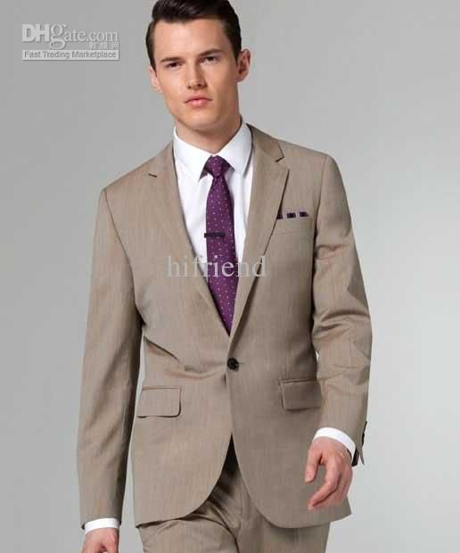 custom made new tan Suit Two-button wool wedding suits groom ...