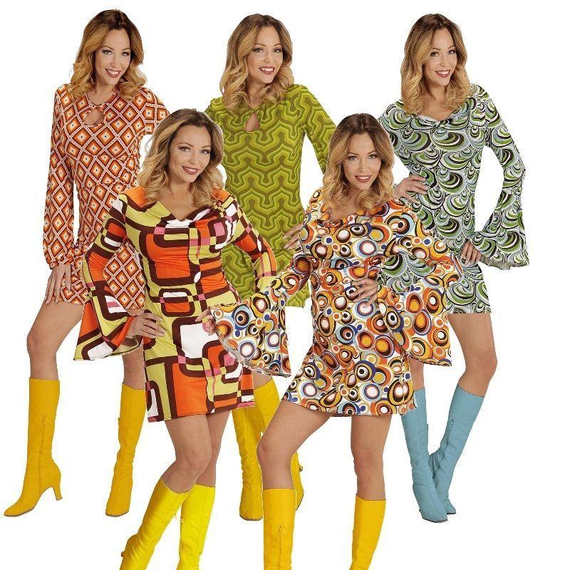 Top Damen Hippie Retro Kostum 60er 70er Jahre Pop Disco Kleid