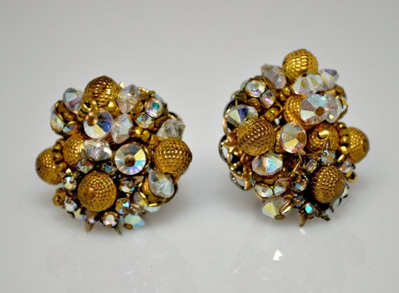 c352d0c9d Vintage Signed ALICE CAVINESS Goldtone and Crystal AB Rhinestone Clip On  Earrings by ncgjewelry, $49.00