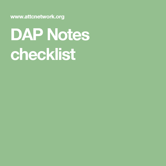 Dap Notes Checklist  Private Practise  Art Therapy  Counselling