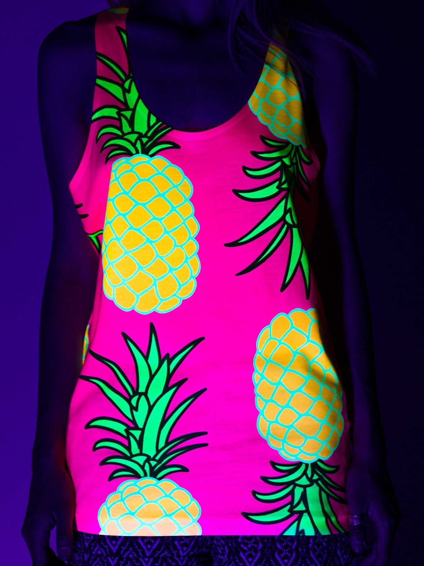 0582f56a27790 Neon Pink Pineapple Unisex Tank Top Electro Threads, Cool Shirts, Organic  Cotton, Pineapple