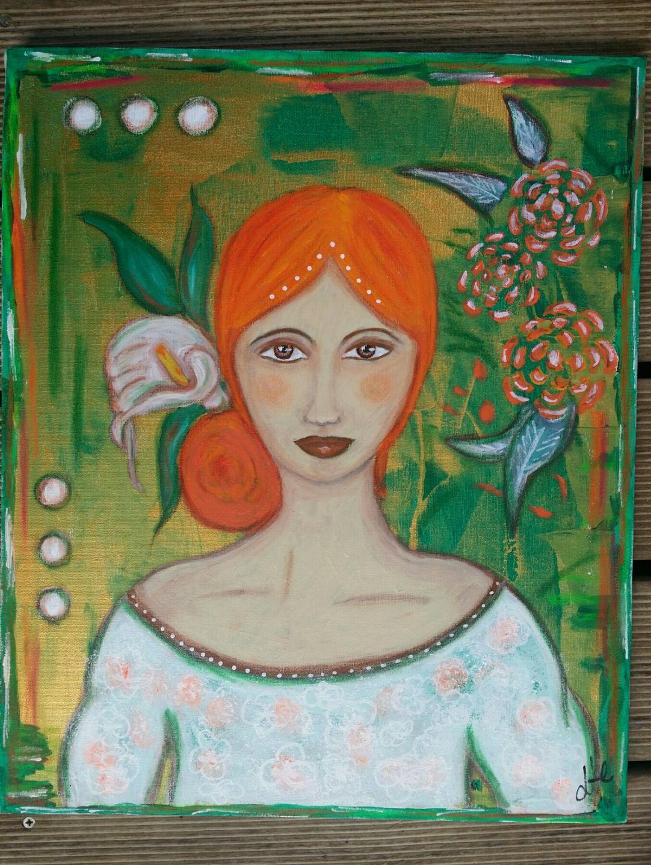 tableau peinture sur toile portrait de femme un arum d 39 automne acrylique gouache pastels. Black Bedroom Furniture Sets. Home Design Ideas
