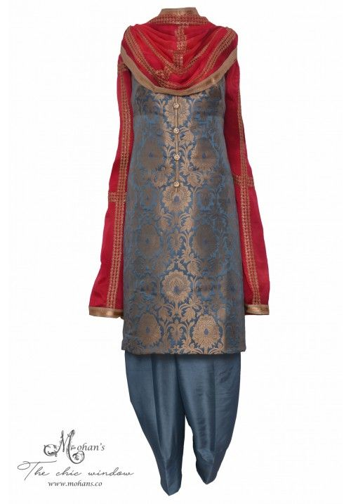 Regal Grey And Cerise Brocade Suit Embellished With Buttons Dress