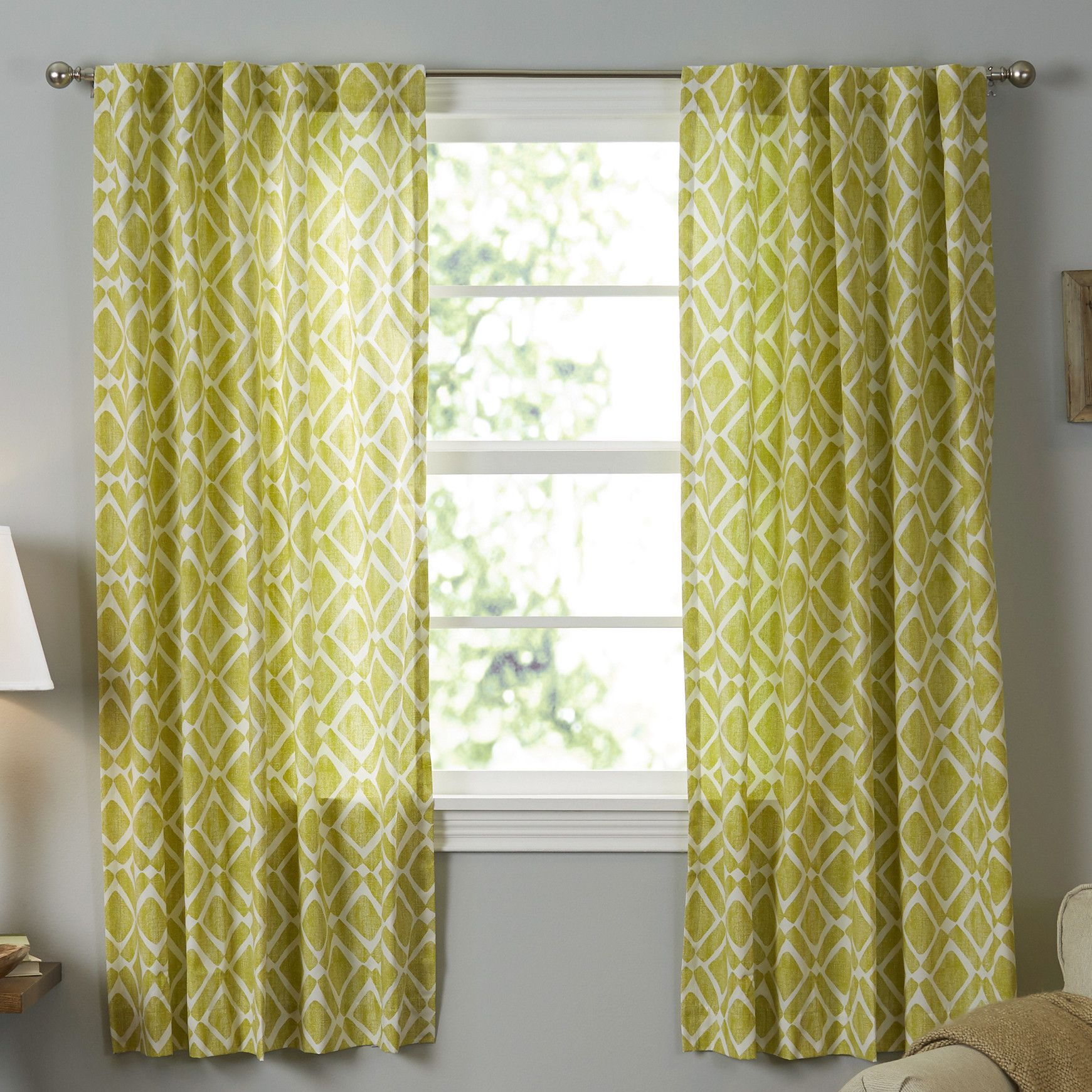 Jessica Geometric Print Rod Pocket Single Curtain Panel | Products ...