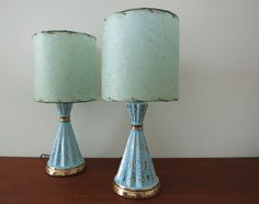 Vintage Pair Of 1950s Lamps Turquoise Blue And Gold Metallic Lamp With Fiberglass Shade Gold Lamp Shades Lamp Vintage Table Lamp