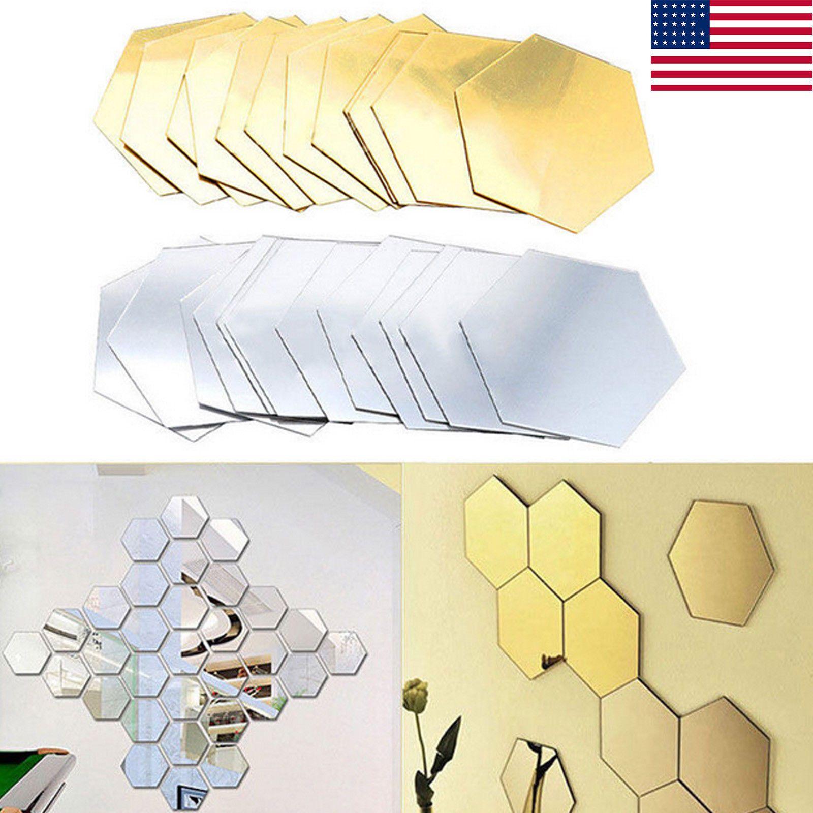 12 Pcs Geometric Hexagon 3D Art Mirror Wall Sticker Decal Home DIY ...