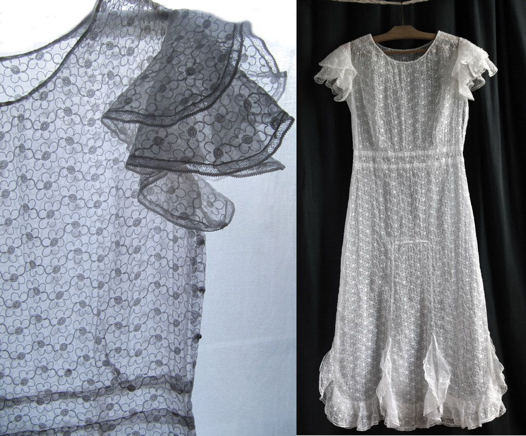 Us long white dress organdi embroidered short sleeves size