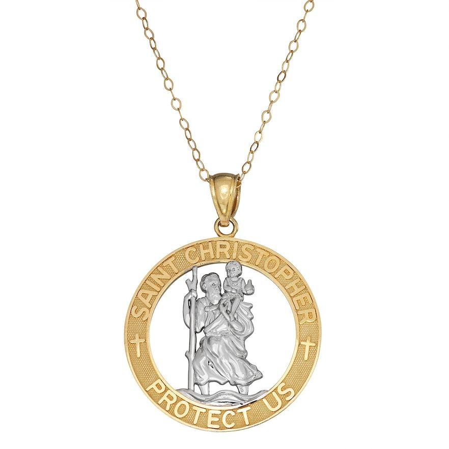 10k Gold St Christopher Medal Pendant Necklace Gold 10k Gold Gold Pendant Necklace