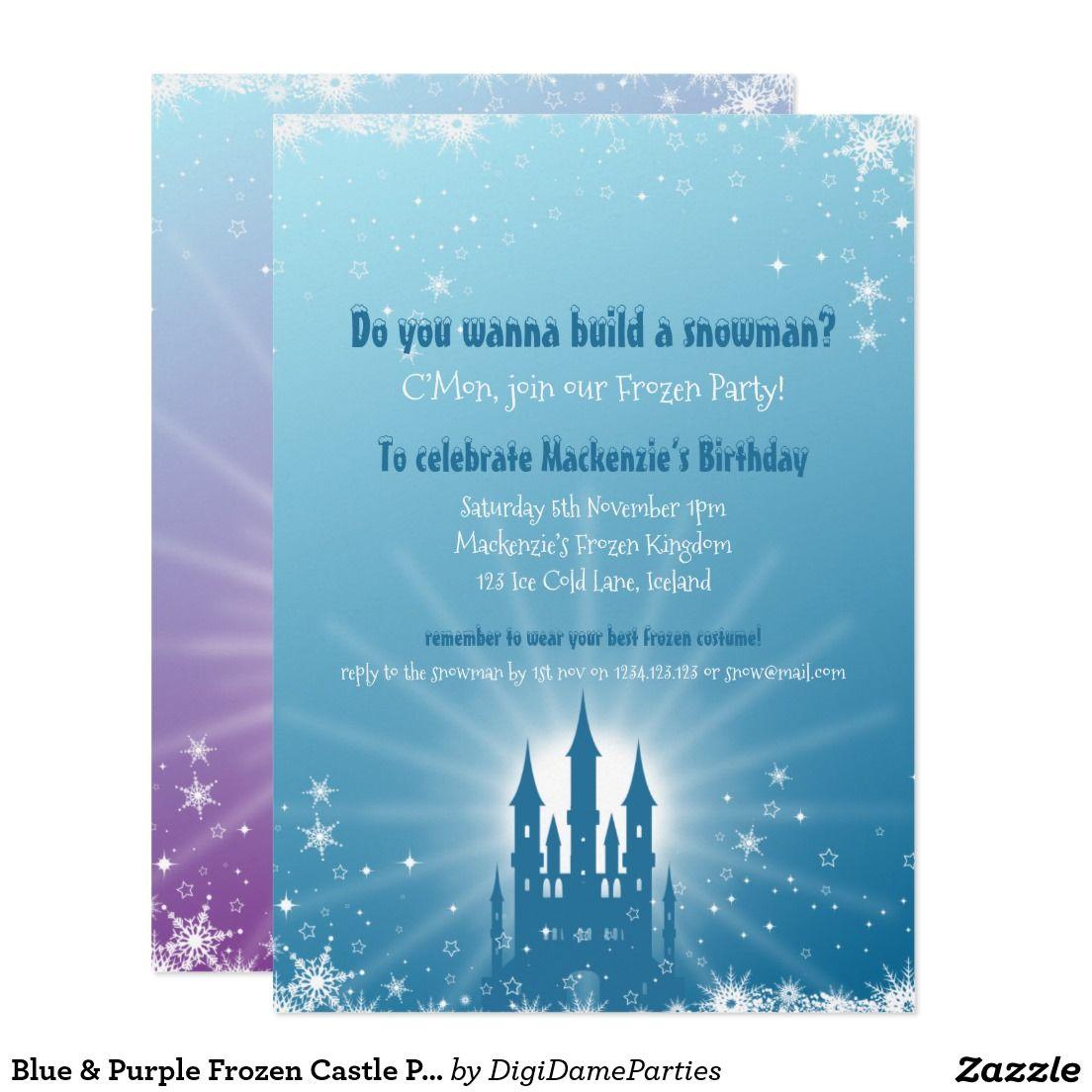 Blue & Purple Frozen Castle Party Invitation   Frozen castle and ...