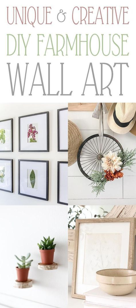 Unique and Creative DIY Farmhouse Wall Art  Sometimes you are looking or the perfect art to compliment your Farmhouse Decor and that is exactly what we have for you today!  All kinds of DIY Wall Art from an Upcycled Bicycle Wheel to a Wall Gallery of Pressed Flowers and so much more.  #WallArt #DIYWallArt #DIYFarmhouseWallArt #FarmhouseWallArt #FarmhouseDIY #DIYFarmyouse