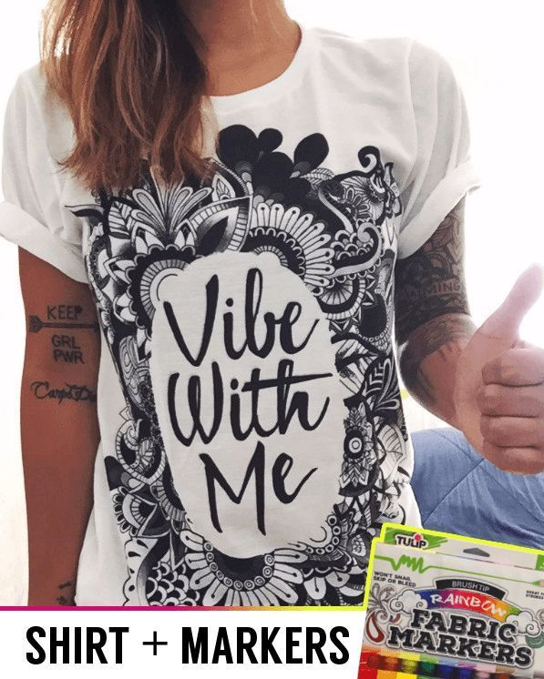 The best DIY projects & DIY ideas and tutorials: sewing, paper craft, DIY.  Diy Crafts Ideas DIY Vibe with Me Tee + Fabric Markers -Read More -