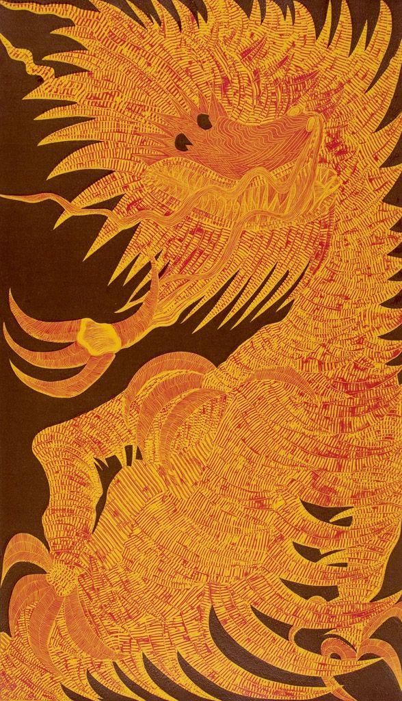 Andrés Alcântara, 'Dragão I' (Dragon I), drypoint and burin, 102 x 60 cm, 2006  © CPS