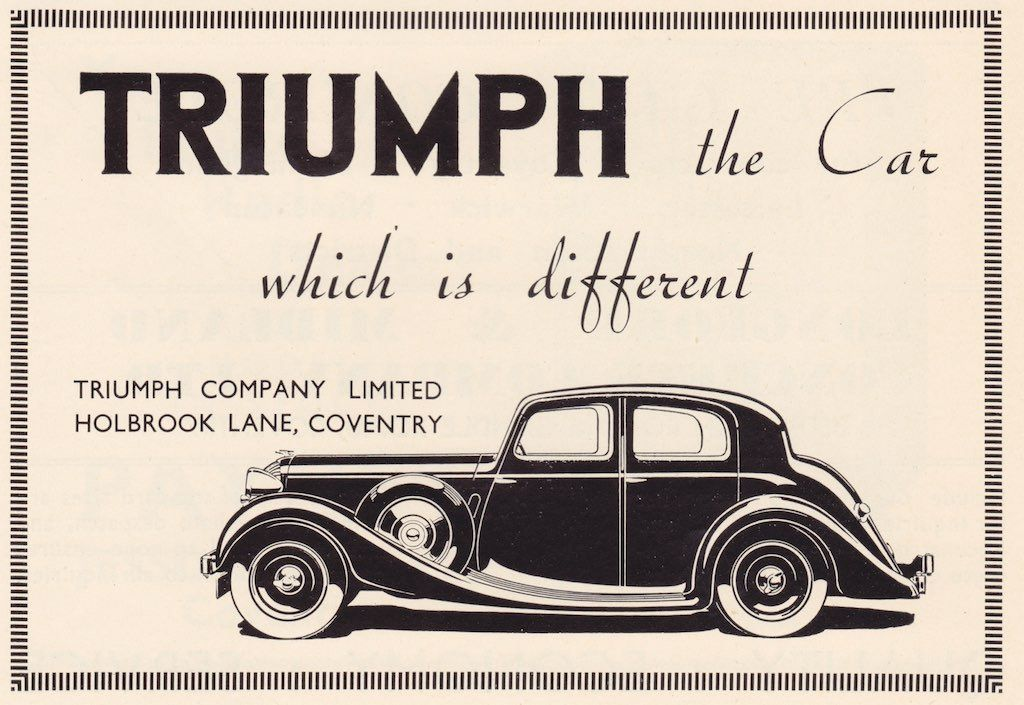 Triumph Motor Company advert, 1937 - from the Coventry offical guide ...