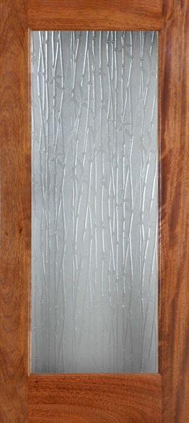 Mahogany 1 Lite Single Tempered Bamboo Glass Door (6 8ft)   Bathroom Door