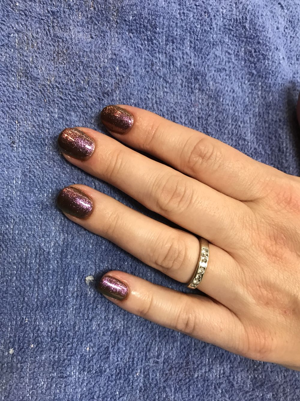 We did a brown shellac with a copper esque additive and this is how it turned out! I'm in love!