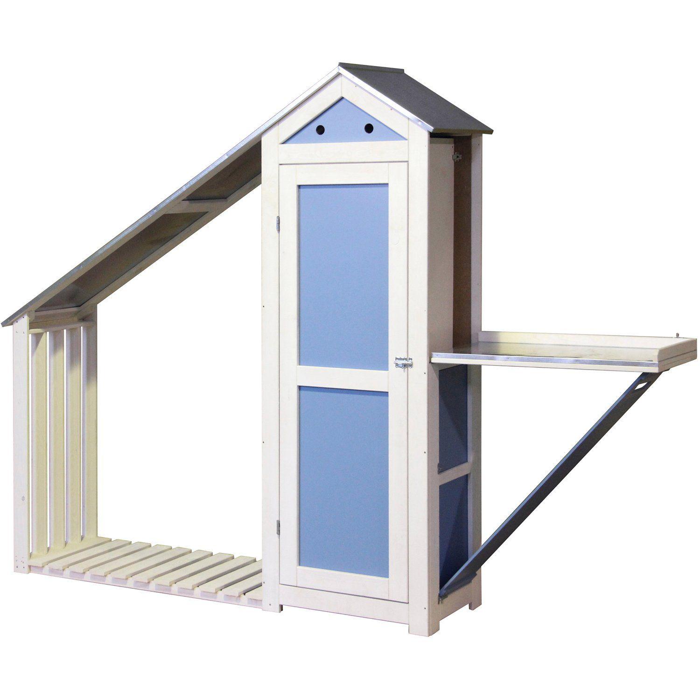 Dobar HolzGerätehaus mit Pflanztisch und Kaminholzregal