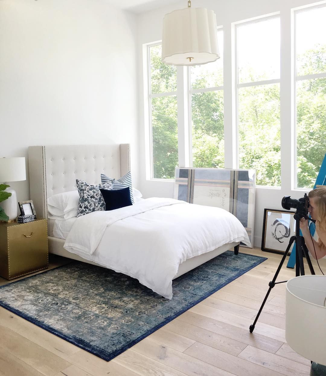 white bedroom with blue details // see more at www.studio-mcgee