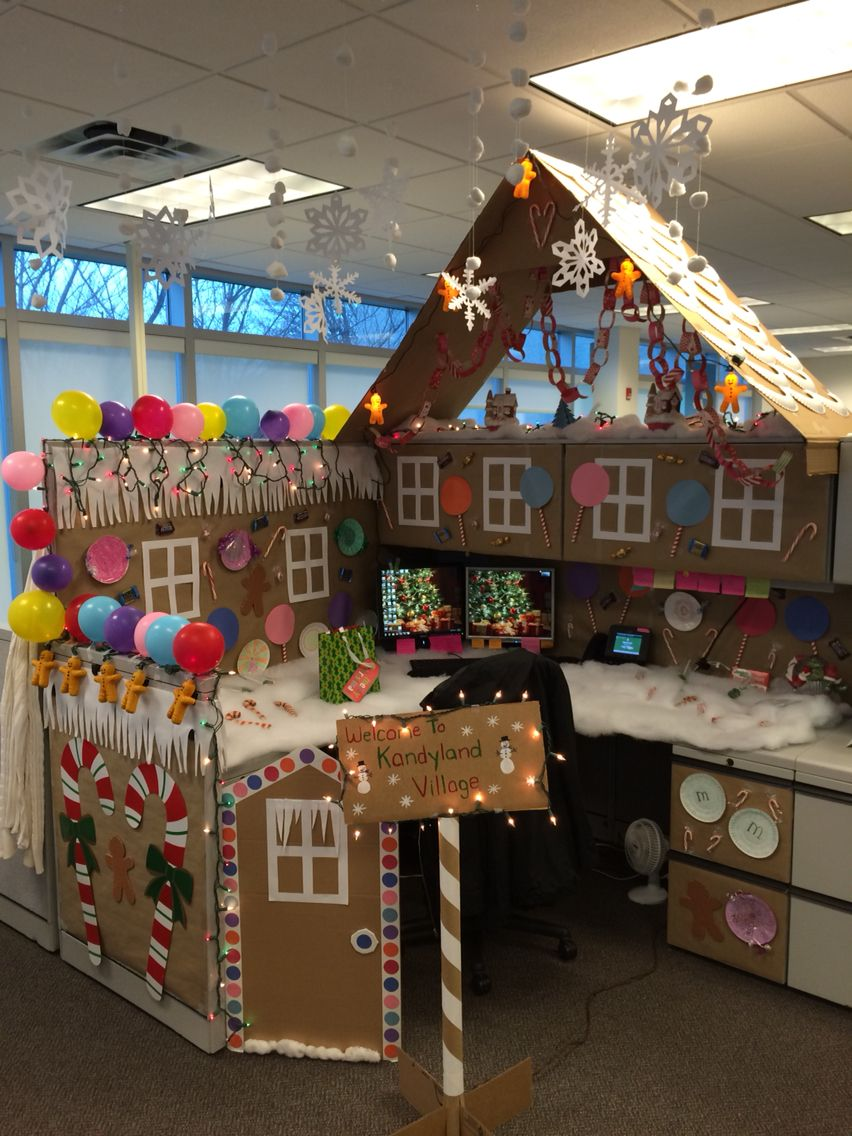 my office cubicle for a contest i won all hand made was so much fun everyone says im a true elf - Office Desk Christmas Decorations
