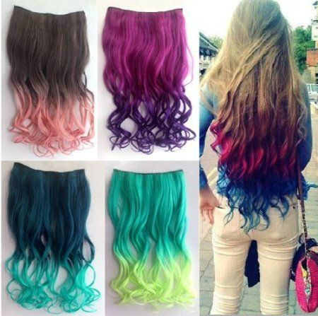 Two Tone One Piece Long Curl/curly/wavy Synthetic Thick Hair Extensions Clip-on Hairpieces