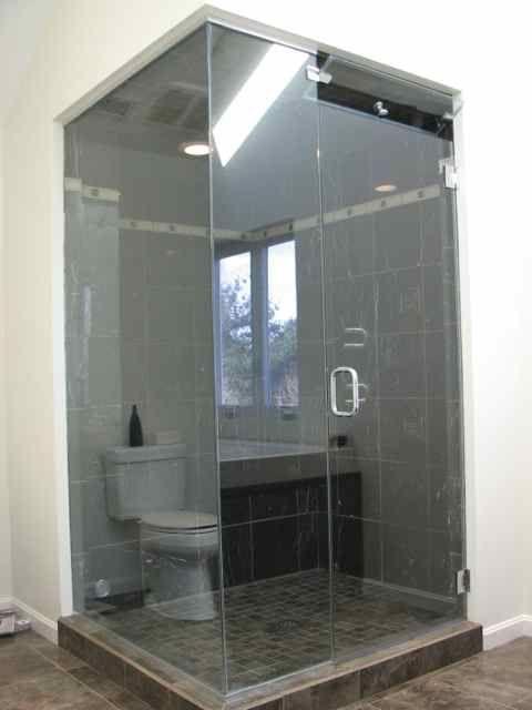 Frameless shower enclosure, L-shape steam enclosure with venting - bing steam shower