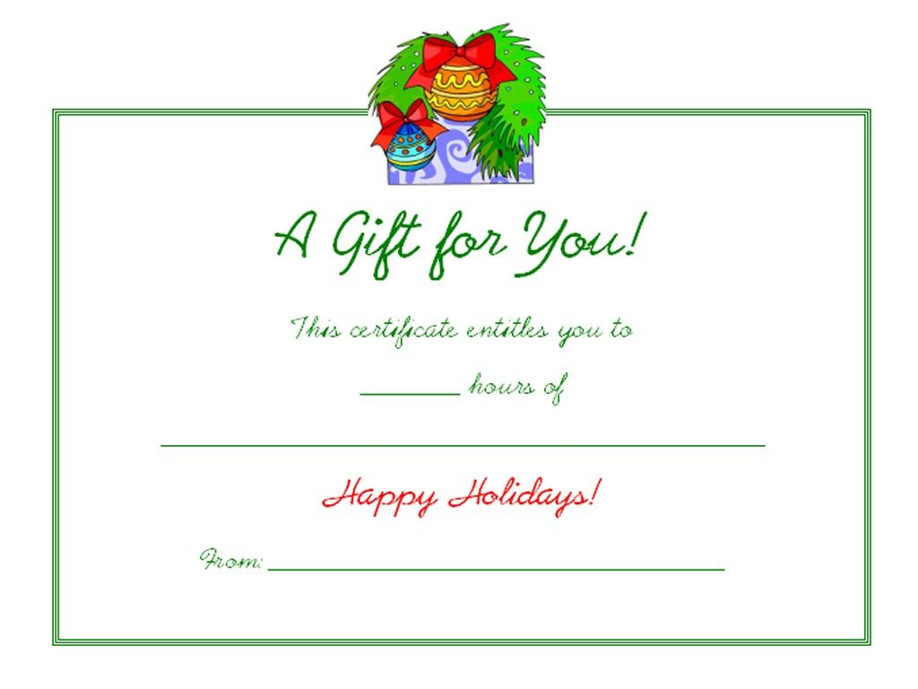 Free Holiday Gift Certificates Templates To Print Holiday Decor