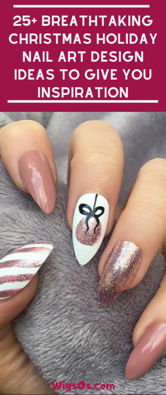 25+ Breathtaking Christmas Holiday Nail Art Design Ideas to Give You Inspiration #Christmas #Nails #holidaynails