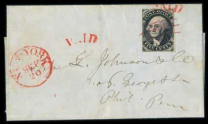 Postmaster's Provisionals — New York, N.Y. 1845 5c black on bluish