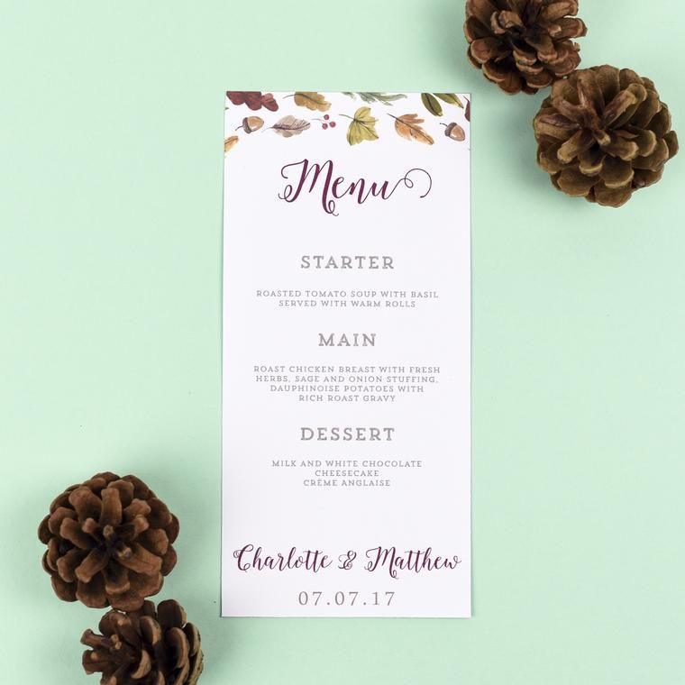 Wedding Menu - Octavia - Autumnal Wedding - EivisSa Kind Designs, Wedding Stationery West Midlands www.eivissakinddesigns.co.uk