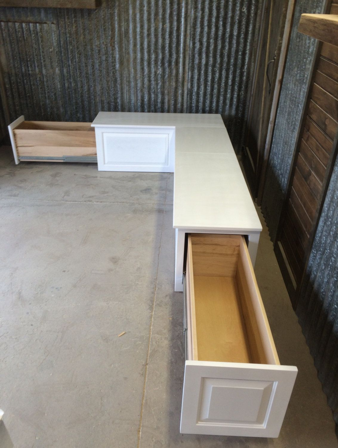 corner kitchen bench white sink with drainboard banquette seat storage drawers