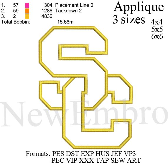 Usc Trojans Applique Logo University Of California Embroidery
