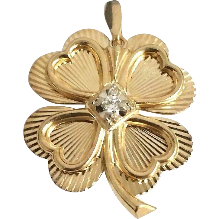 Stunning Handcrafted Vintage 1950 S 14 Karat Yellow Gold 1 10 Carat Diamond Four Leaf Clover Lucky Charm Pendant Brooch Charm Pendant Clover Vintage Jewelry