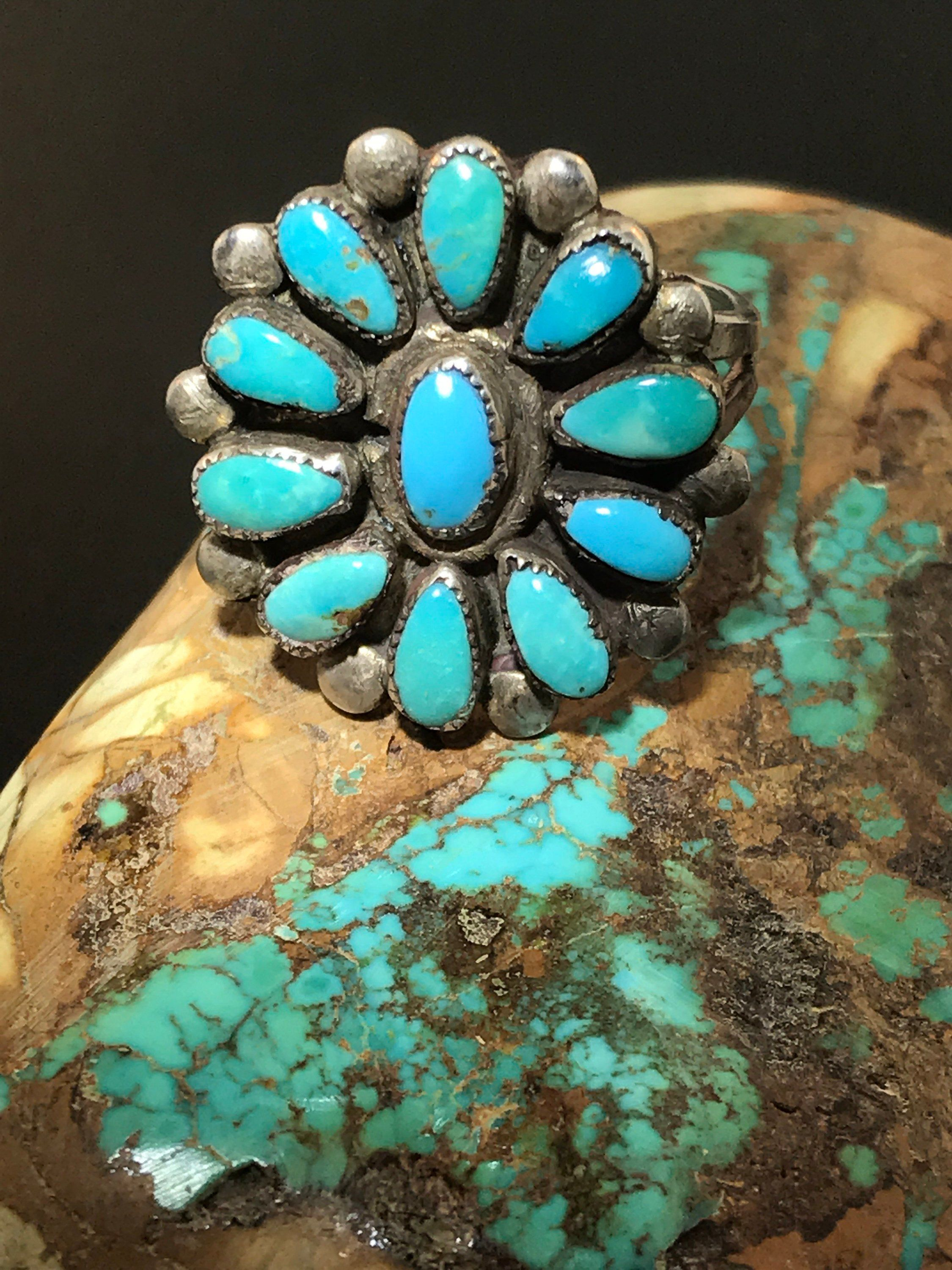 SIGNED Vintage Native America Indian Jewelry Navajo Zuni Petit Point Sterling Silver Turquoise Ring Southwestern Jewelry Needlepoint