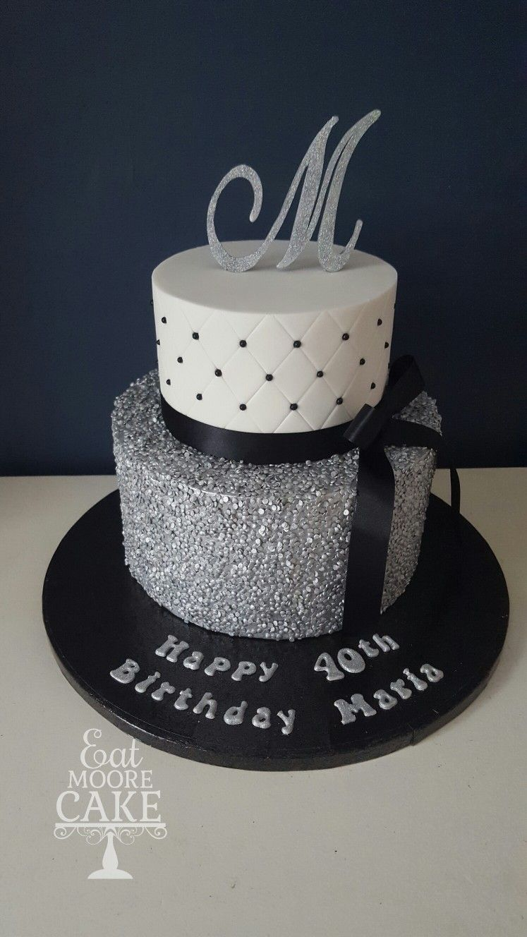 Outstanding 40Th Birthday Cake Silver Black And White Theme By Eat Moore Funny Birthday Cards Online Elaedamsfinfo