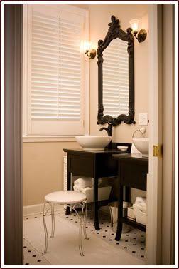 Black, white, cream bathroom. | Paris decor bathroom ideas ... on black and cream bedroom designs, trellis bathroom designs, small bathroom designs, black and cream living room designs,