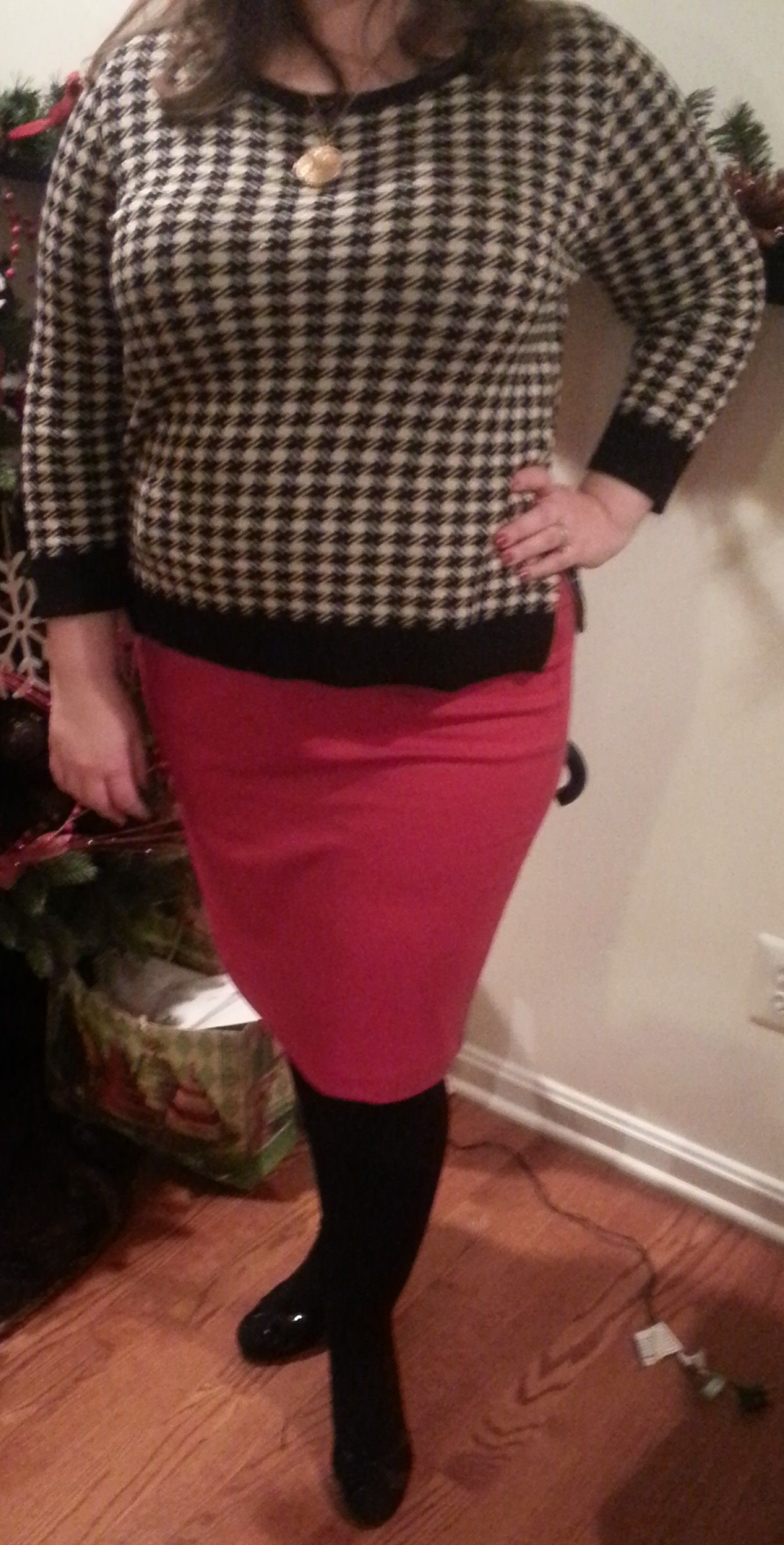 06dfdc1da0d77 Kohl's black and white houndstooth sweater; red ponte pencil skirt; black  tights; Naturalizer black suede pumps; gold tone locket;  #365daywardrobeplus ...