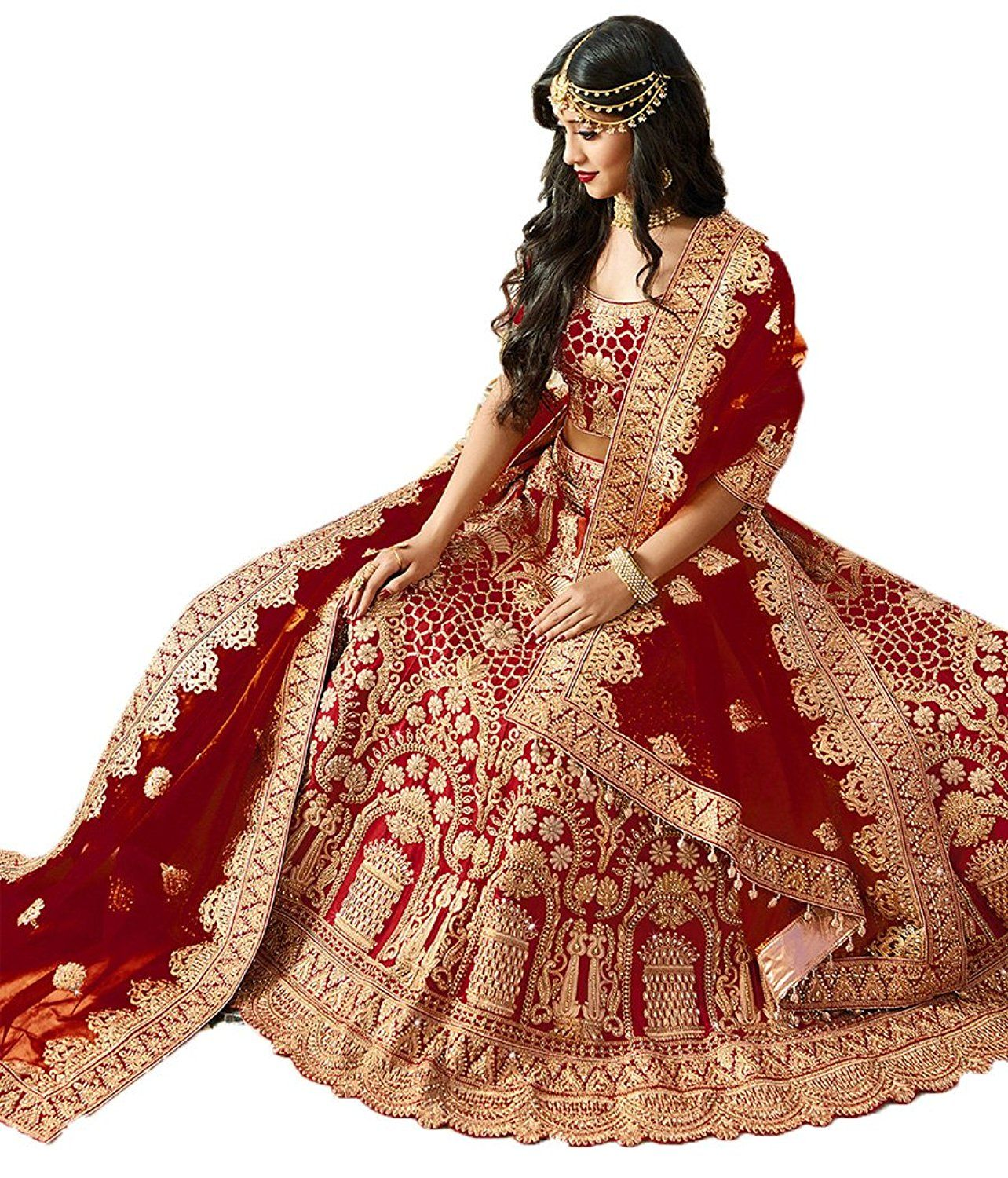 757804bd82cbf Rozdeal Women s Maroon Havy Taffeta Silk Lehenga Choli ( RDL129-SN72 )   Amazon.in  Clothing   Accessories