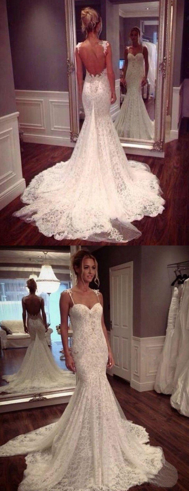 Spaghetti Straps wedding dresses, lace wedding dresses, open back ...