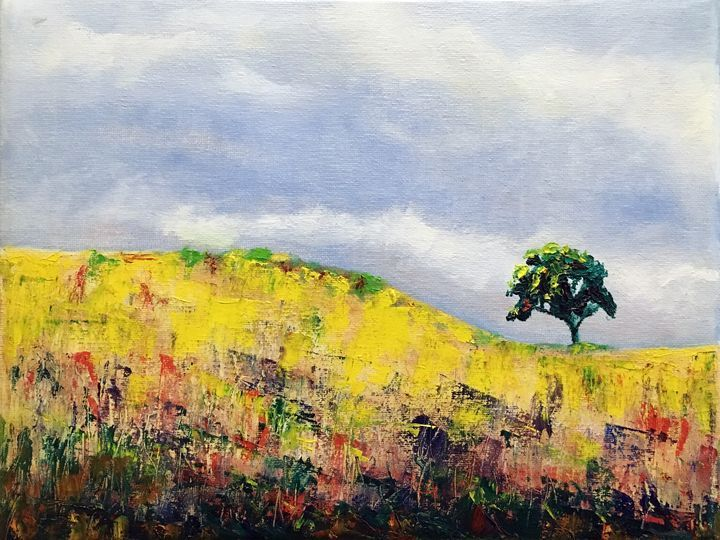 An original landscape oil painting by tom carlos oil