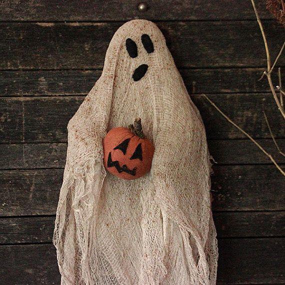 Primitive Halloween Ghost Door Doll Wall Hanging Halloween Decor - halloween ghost decor