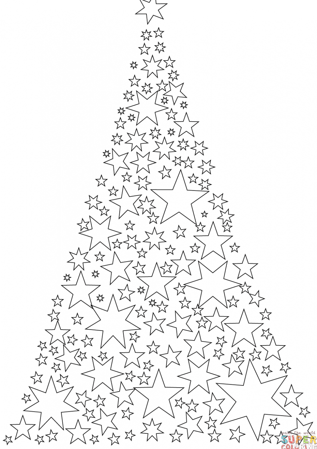 Christmas Tree Made Of Stars Coloring Page Free Printable Coloring Pages Printable Christmas Coloring Pages Christmas Tree Coloring Page Star Coloring Pages
