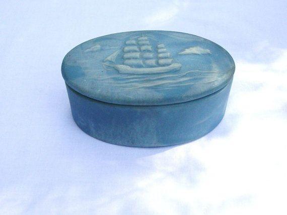 Nautical Jewelry Box Trinket Box Sailing Ship Blue Incolay Stone